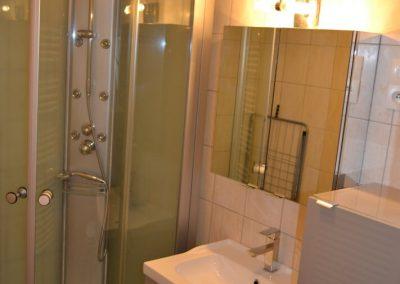 Gîte La Boulbène – de badkamer met wastafel en douche