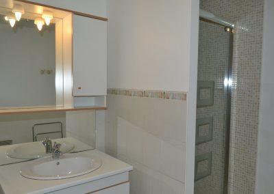 Gîte Le Terrefort – wastafel en douche in de badkamer